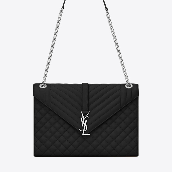 8c4cb5f7c0 SAINT LAURENT Large Envelope Chain Bag In Black